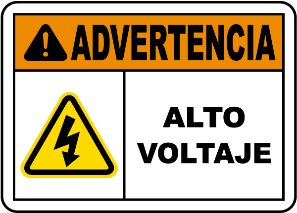 Spanish Warning High Voltage Label
