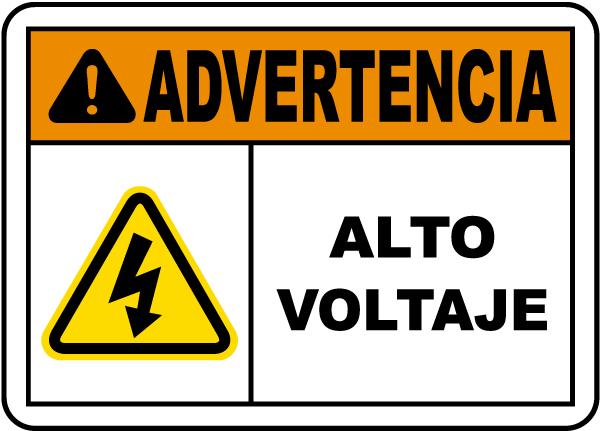 Spanish Warning High Voltage Label