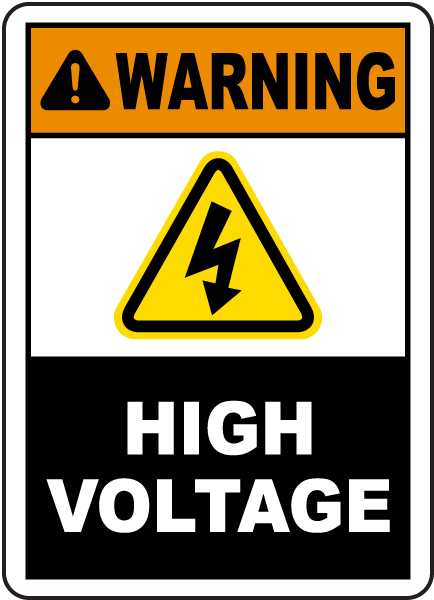 Warning High Voltage Label