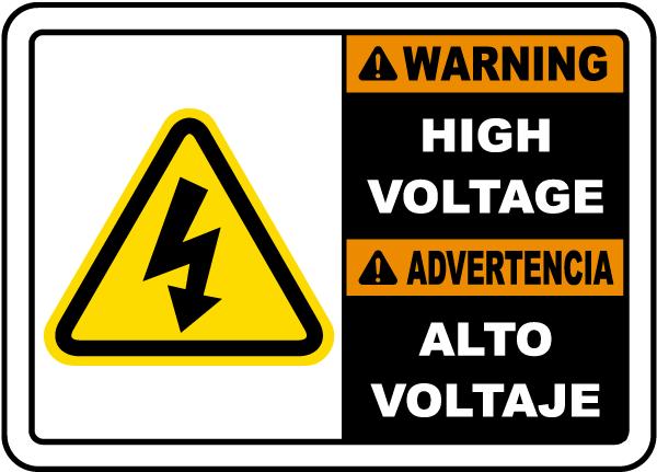 Bilingual Warning High Voltage Sign