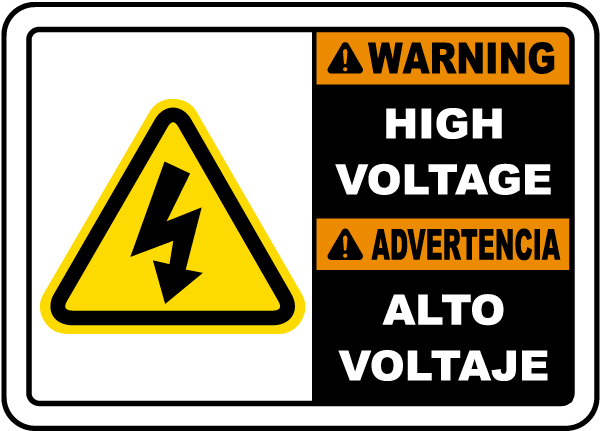 Bilingual Warning High Voltage Label
