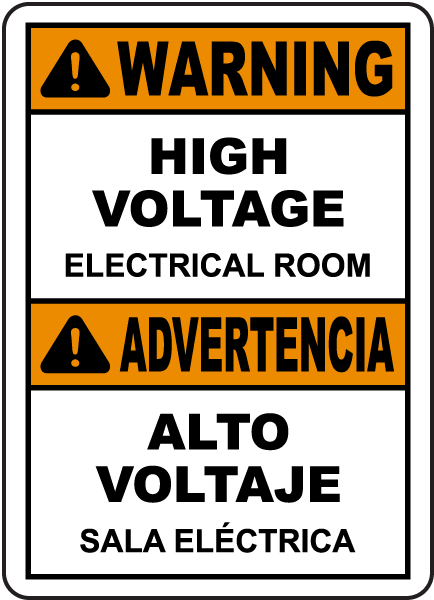 Bilingual High Voltage Electrical Room Label