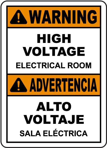 Bilingual Warning High Voltage Electrical Room Sign