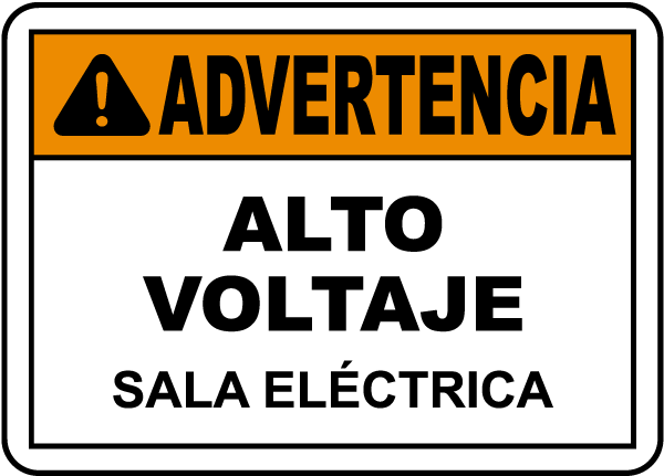 Spanish Warning High Voltage Electrical Room Sign