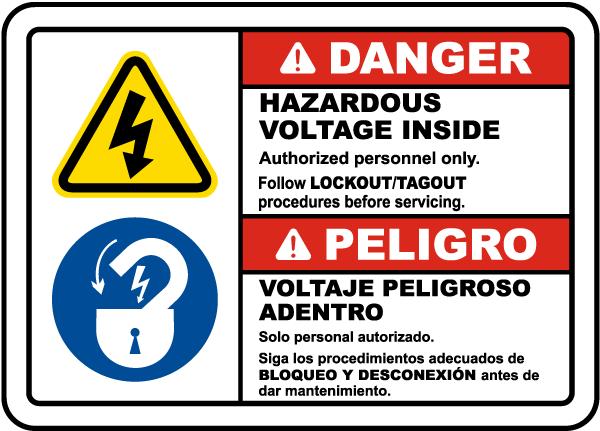 Bilingual Follow Lockout Tagout Procedures Label