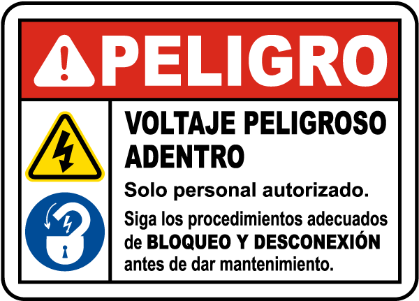 Spanish Follow Lockout Tagout Procedures Sign