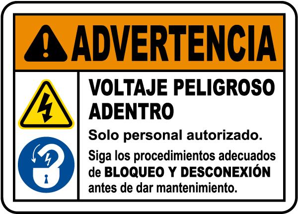 Spanish Follow Lockout Tagout Procedures Label