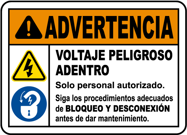 Spanish Follow Lockout Tagout Procedures Label