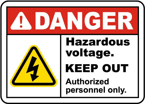 Hazardous Voltage Keep Out Label