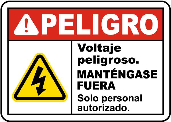 Spanish Danger Hazardous Voltage Keep Out Label