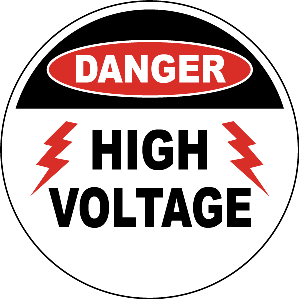Danger High Voltage Floor Sign