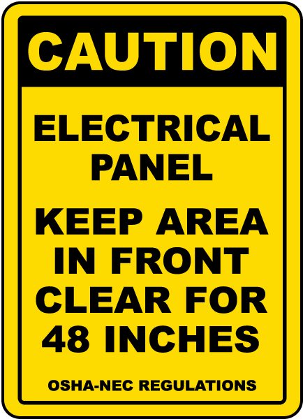 Caution Keep Area Clear For 48 Inches Floor Sign