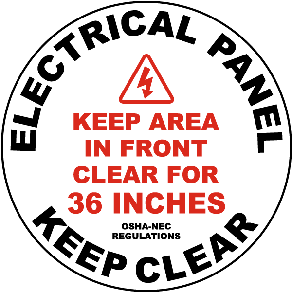 Keep Area Clear For 36 Inches Floor Sign