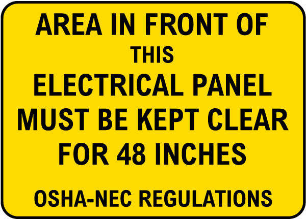 Keep Area Clear for 48 inches Label