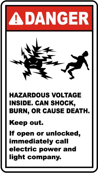 Hazardous Voltage Inside Label