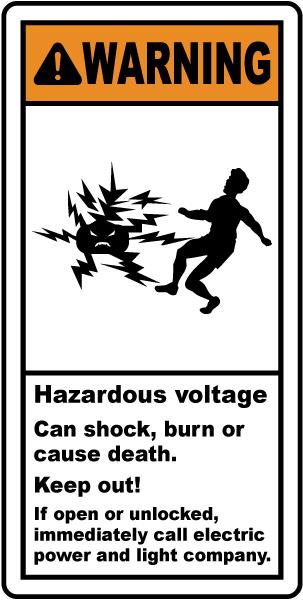 Hazardous Voltage Will Shock Label