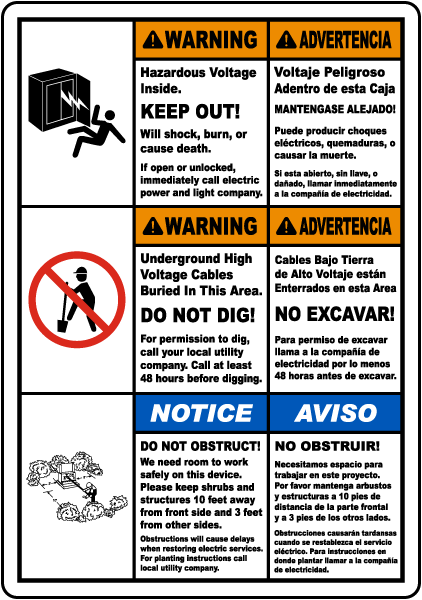 Bilingual Keep Out Do Not Dig Label
