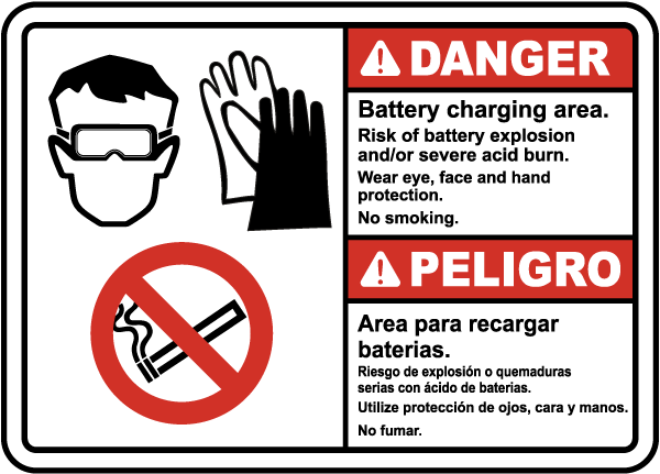 Bilingual Battery Charging Area Risk of Explosion Sign