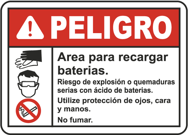 Spanish Battery Charging Area Risk of Explosion Sign