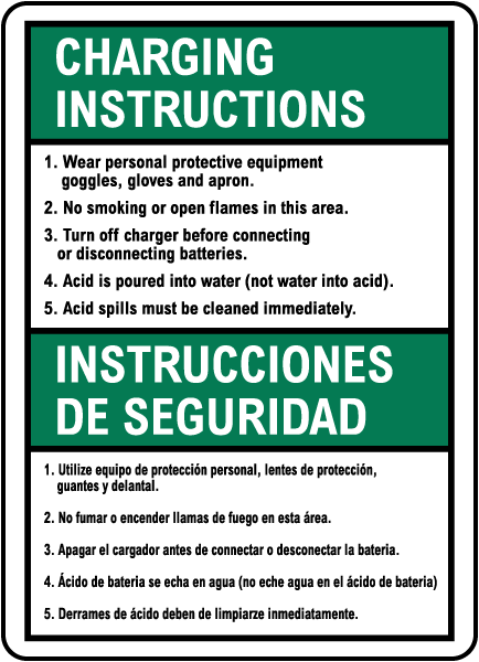 Bilingual Battery Charging Instructions Sign