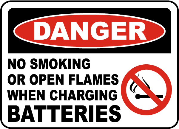 No Smoking When Charging Sign
