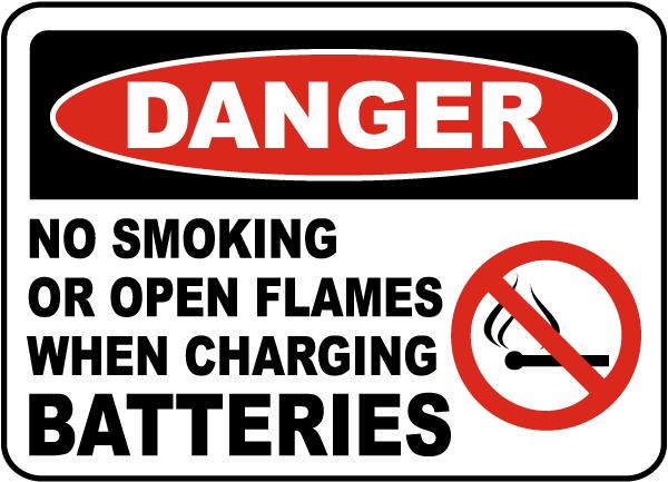 No Smoking When Charging Sign