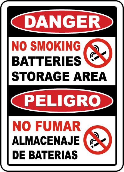 Bilingual No Smoking Battery Storage Area Sign