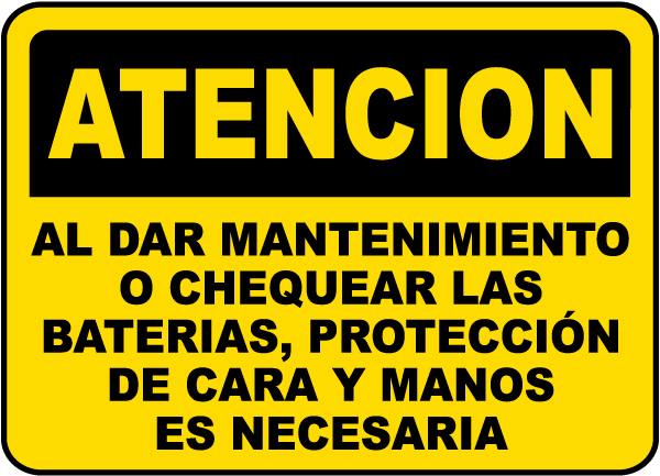 Spanish Caution When Servicing Batteries Sign