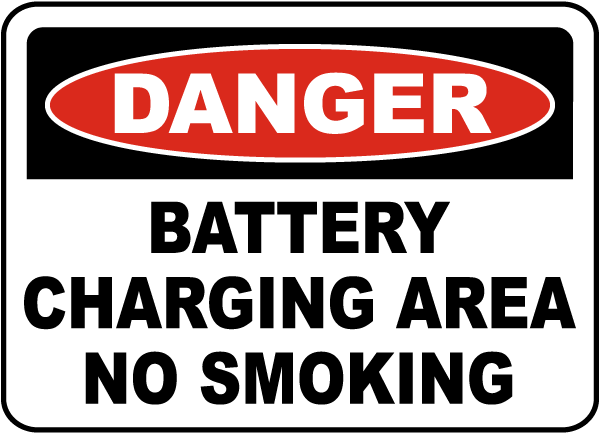 Battery Charging No Smoking Sign