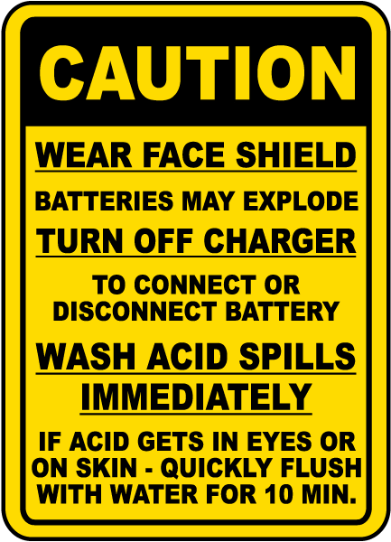Battery Charging Procedures Sign