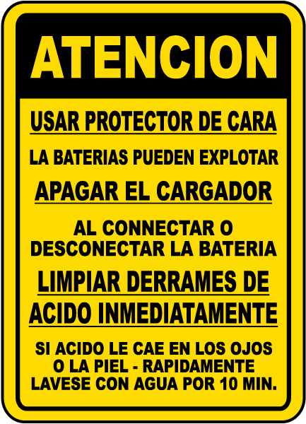 Spanish Battery Charging Procedures Sign