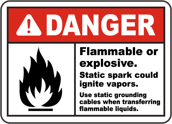 Danger Flammable or explosive. Static spark could ignite vapors sign