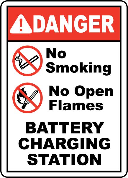 Battery Charging No Smoking Sign