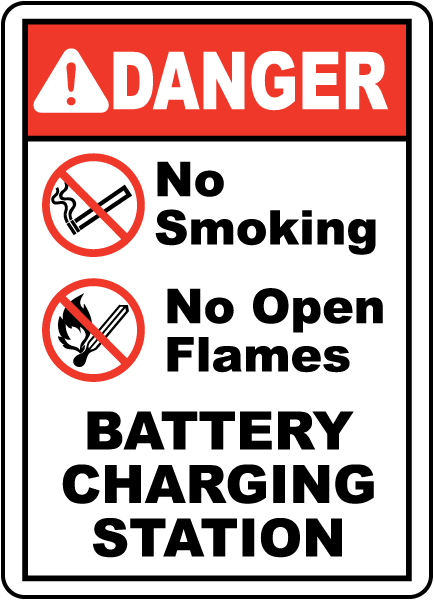 DANGER. No Smoking. No Open Flames. BATTERY CHARGING STATION