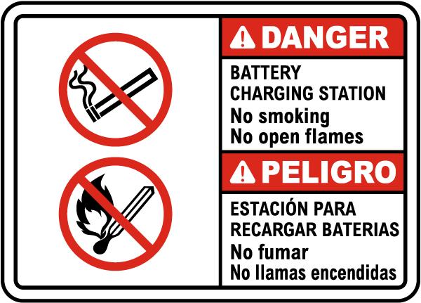 Bilingual Battery Charging Station No Smoking Sign