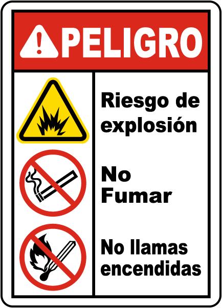 Spanish Explosion Hazard No Smoking No Open Flames Sign