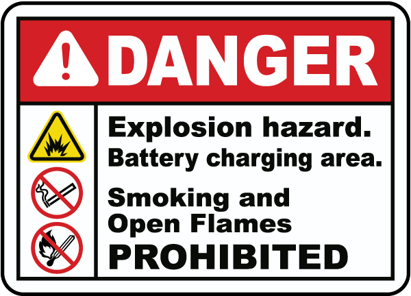 Explosion Hazard Charging Area Sign