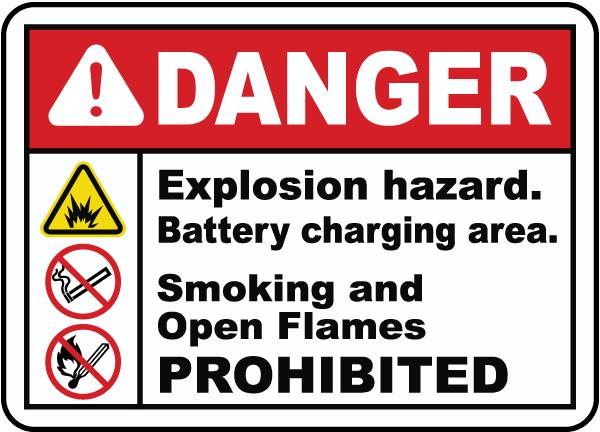Explosion Hazard Charging Area Sign