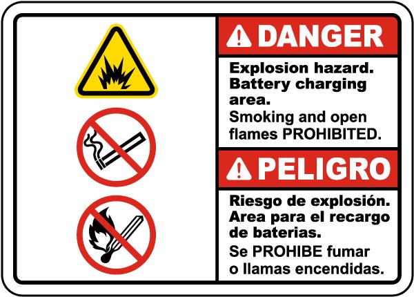 Bilingual Danger Explosion Hazard Charging Area Sign