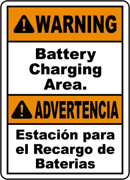 Bilingual Warning Battery Charging Area Sign
