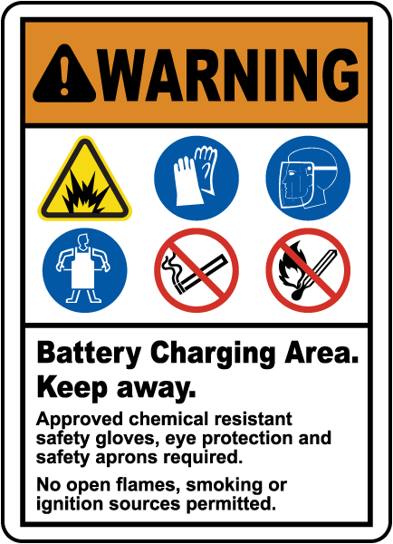 Battery Charging Area Keep Away Sign