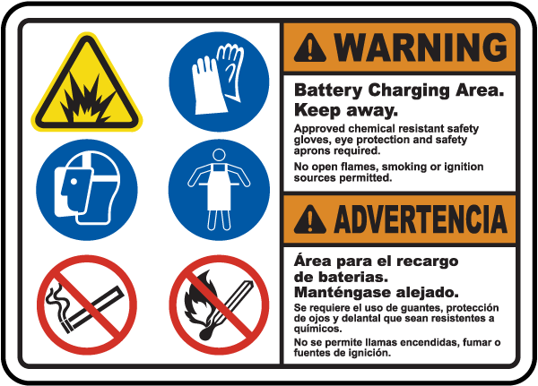 Bilingual Battery Charging Area Keep Away Sign