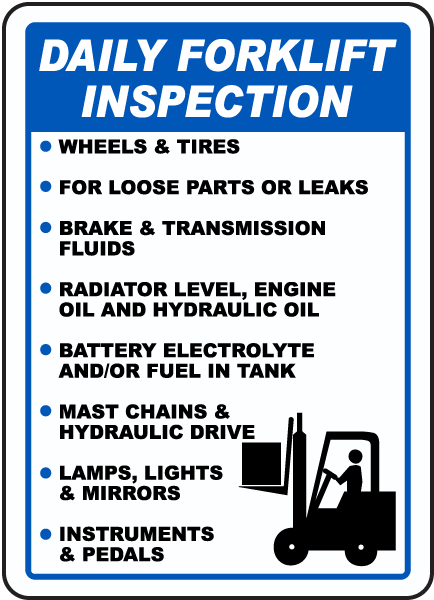 Daily Forklift Inspection Sign