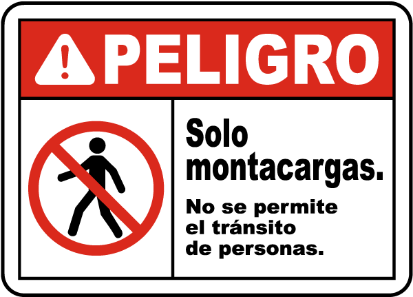Spanish Forklifts Only No Pedestrian Traffic Sign