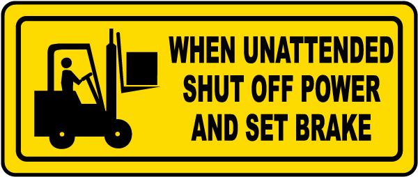Shut Off Power and Set Brake Label