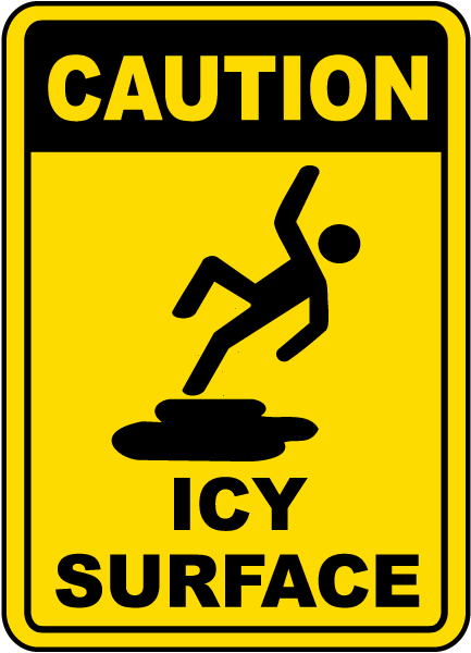 Caution Icy Surface Sign