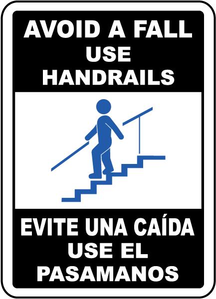 Bilingual Avoid A Fall Use Handrails Sign