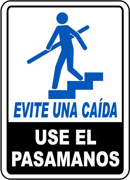 Spanish Avoid A Fall Use Handrails Sign