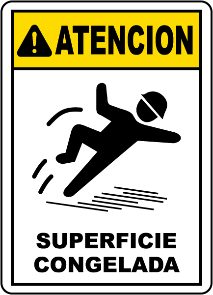 Spanish Caution Icy Surface Sign