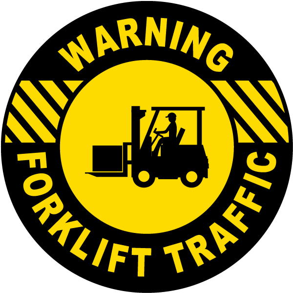 Warning Forklift Traffic Floor Sign
